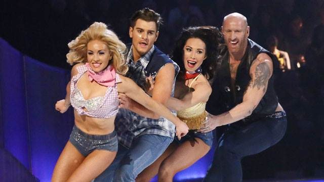 Gareth Thomas duelling with Matt Lapinskas Dancing On Ice