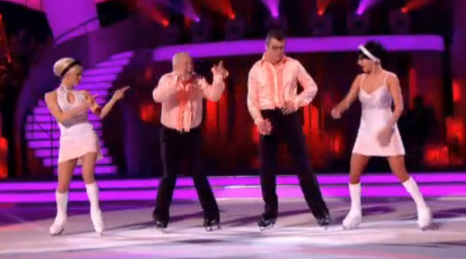 Keith Chegwin and Joe Pasquale duelling Dancing On Ice 2013