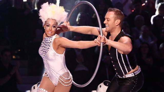 Beth Tweddle and Daniel Whiston being put through the hoop in week 8 of Dancing On Ice