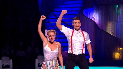 Matt Lapinskas and Brianne Delcourt perform in Dancing On Ice in week 6