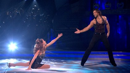 Samia Ghadie and Sylvain Longchambon perform in Dancing On Ice Week 6