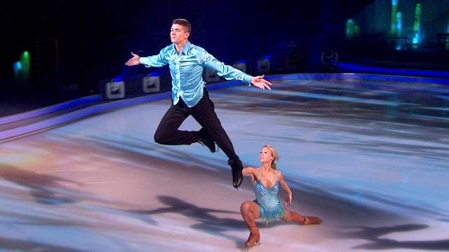 Luke Campbell and Jenna Smith performing their flying routine in week 9 of Dancing On Ice