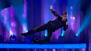 Matt Lapinskas during his flying routine in the Dancing On Ice semi-final