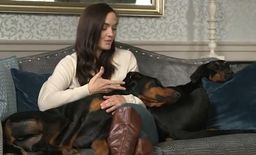 Victoria Pendleton and her Doberman dogs named Stella and Mr Jonty