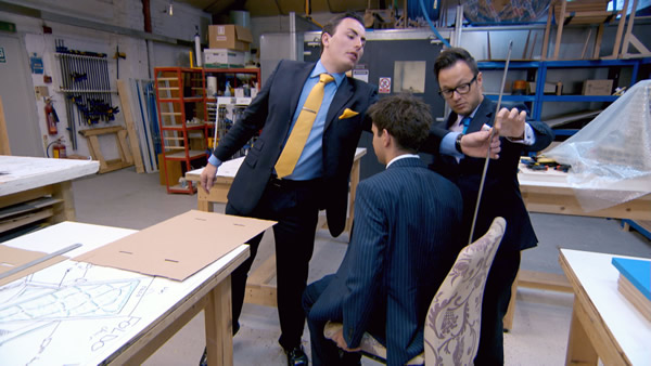 Alex Mills, Jason Leech and Jordan Poulton working on their flat-pack furniture design in The Apprentice 2013 Episode 3