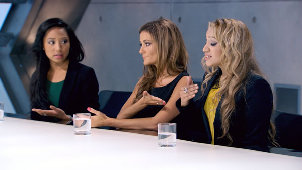 Boardroom Battle Sophie Lau, Natalie Panayi and Uzma Yakoob each defend their corner in The Apprentice 2013