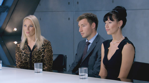 Francesca MacDuff-Varley, Tim Stillwell and Rebecca Slater Face Lord Sugar In The Boardroom - The Apprentice Episode 2