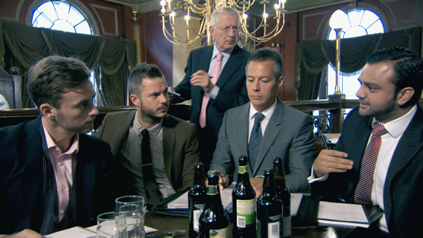 Kurt Wilson, Neil Clough, Myles Mordaunt And Zeeshaan Shah Planning As Nick Hewer Look On In Episode 2 Of The Apprentice 2013