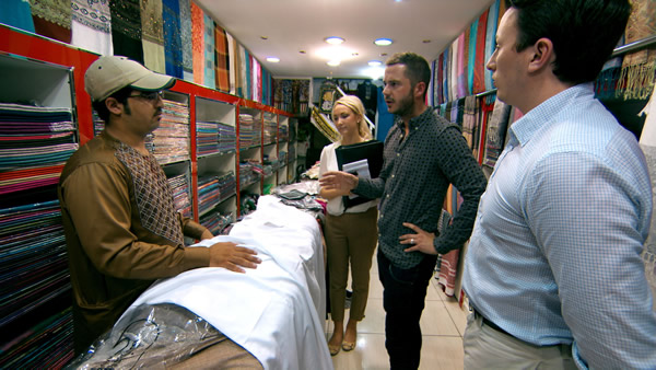 Leah Totton, Neil Clough and Alex Mills buying fabric in Dubai - Episode 5 of The Apprentice 2013