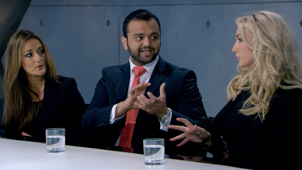 Natalie Panayi, Zeeshaan Shah and Leah Totton battle to survive the boardroom in Episode 5 of The Apprentice 2013