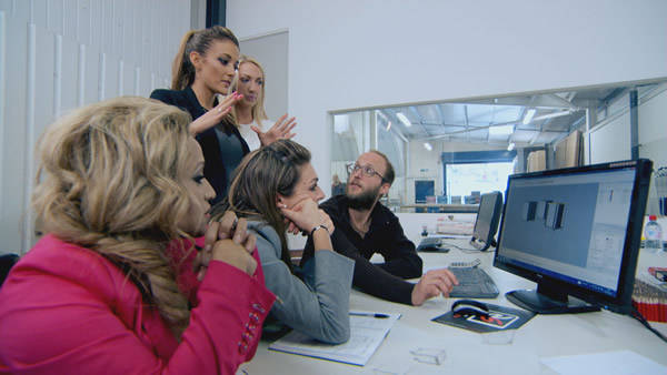 Uzma Yakoob, Natalie Panayi, Leah Totton and Luisa Zissman designing their flat-pack furniture in The Apprentice 2013 Episode 3