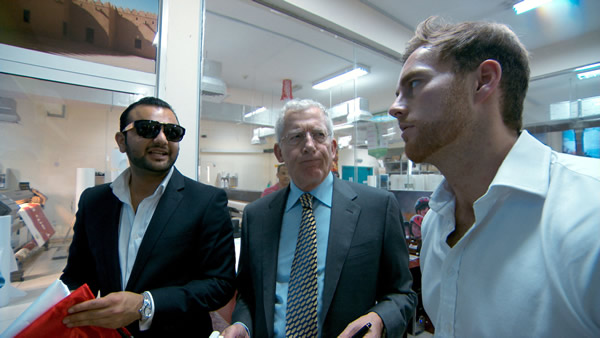 Zeeshaan Shah and Kurt Wilson negotiating in Dubai as a pained Nick Hewer looks on - The Apprentice Series 9 Episode 5
