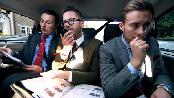 Alex Mills, Neil Clough and Kurt Wilson planning their corporate away day in episode 6 of The Apprentice 2013