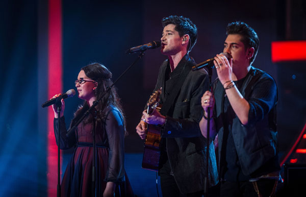 Andrea Begley, Danny O'Donoghue and Karl Michael perform in the semi final of The Voice 2013