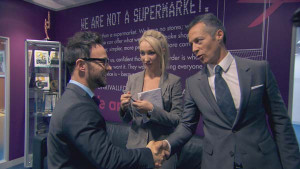 Jordan Poulton, Leah Totton and Myles Mordaunt in The APprentice 2013 episode 9