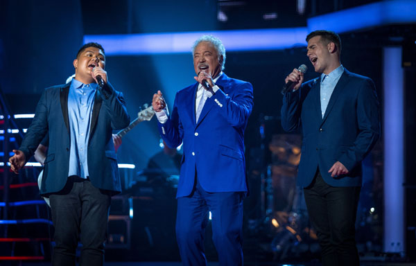 Joseph Apostol, Tom Jones and Mike Ward perform in the semi final of The Voice 2013