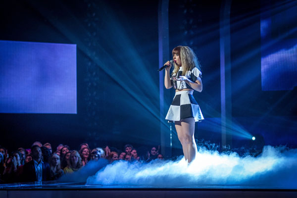 Leah McFall performs in the semi final of The Voice 2013