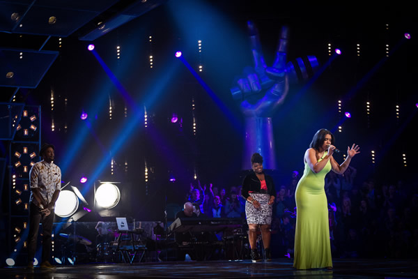 Lovelle Hill performs in her Knockout with Letitia Grant Brown and Matt Henry in The Voice 2013