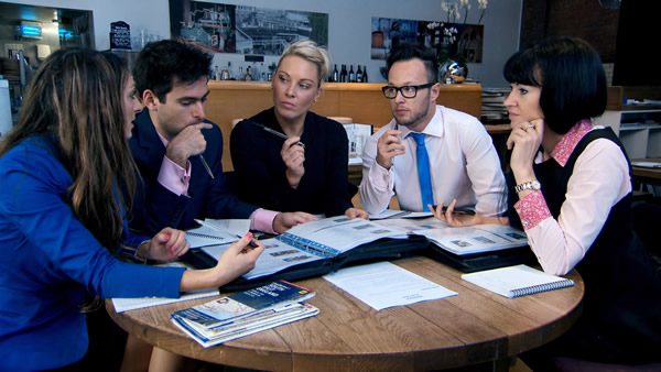 Luisa Zissman, Jason Leech, Francesca MacDuff-Varley, Jordan Poulton and Rebecca Slater planning a corporate event in episode 6 of The Apprentice 2013
