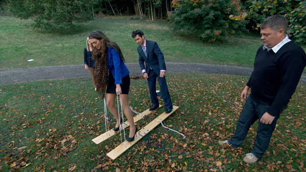 Luisa Zissman and Jason Leech demonstrate to delegates on a corporate away day in episode 6 of The Apprentice 2013