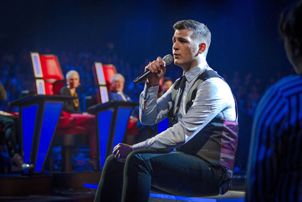 Mike Ward performs in the semi final of The Voice 2013