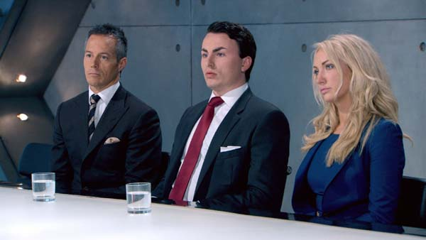 Myles Mordaunt, Alex Mills and Leah Totton face the boardroom battle in episode 9 of The Apprentice
