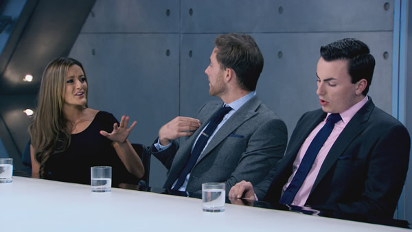 Natalie Panayi, Kurt Wilson and Alex Mills battle it out in the boardroom in Episode 7 of The Apprentice 2013