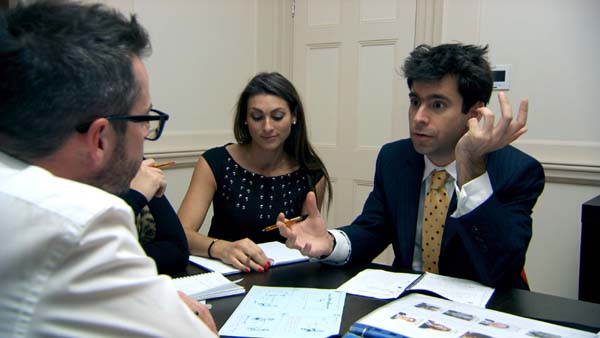 Neil Clough, Luisa Zissman and Jason Leech in The Apprentice Episode 8