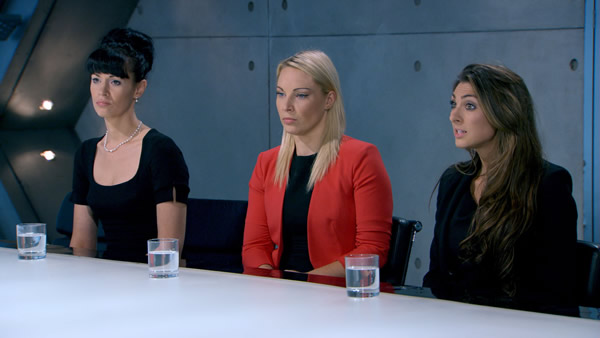 Rebecca Slater, Francesca MacDuff-Varley and Luisa Zissman face the boardroom in episode 6 of The Apprentice 2013