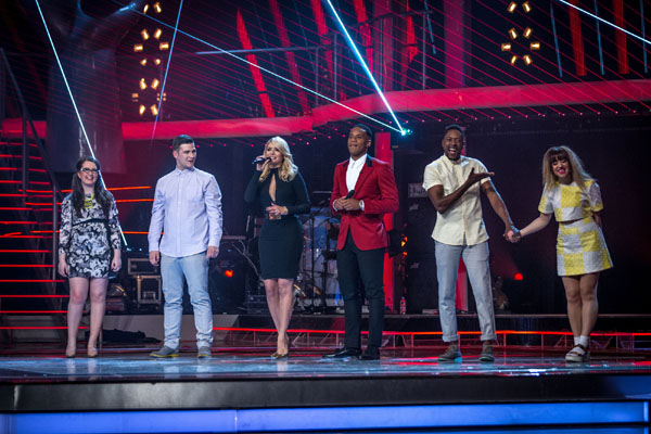 The Voice finalists, Andrea Begley, Mike Ward, Matt Henry and Leah McFall with Holly Willoughby and Reggie Yates
