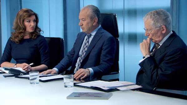 Decision Time For Lord Sugar In The Apprentice Final 2013 (Guided By Karren Brady And Nick Hewer)