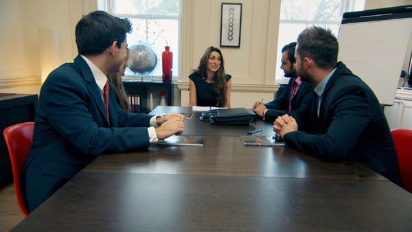 Luisa Zissman Leading Her Team Of Jason Leech, Natalie Panayi, Zeeshaan Shah And Neil Clough In The Apprentice Final 2013